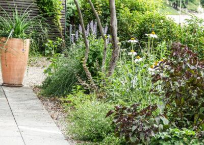 Pflanzen auf Naturstein Terrasse